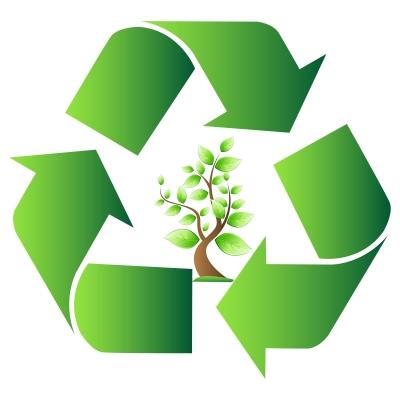 Desenho de um símbolo de reciclagem com uma árvore no meio.